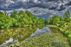 Fulda river in HDR Aueweiher Park  in Fulda, Hessen, Germany Royalty Free Stock Images