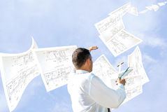 Fulfilled engineering design. Dispatch client under observations master designing engineer Royalty Free Stock Photos