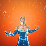 The fulfilled man. 3D illustration of water filled glass male figure with life ring floating inside him Stock Photography