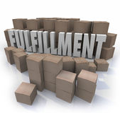 Fulfillment Cardboard Boxes Shipping Orders Warehouse Shipments. Fulfillment word in 3d letters surrounded by cardboard boxes in a warehouse to illustrate a Royalty Free Stock Photography