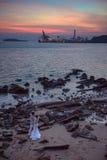Fulgor do por do sol na ilha de Gulang fotos de stock royalty free