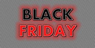 Fulgor vermelho de néon de Black Friday no fundo das tiras fotos de stock