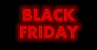 Fulgor vermelho de néon de Black Friday no fundo preto imagens de stock royalty free