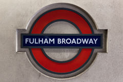 Fulham Broadway station sign in London Stock Photo