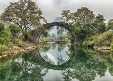 Fuli-Brücke auf dem Yulong-Fluss Yangshuo Lizenzfreie Stockfotos
