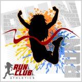 Fulländande löpareteckendesign med annan bakom Vinnande mästarebegrepp Arkivbilder