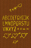 Full alphabet cutout on bark Stock Photos