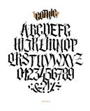 Full alphabet in the Gothic style. Vector. Letters and symbols on a white background. Calligraphy and lettering. Medieval Latin. Letters. Individual letters stock illustration