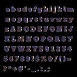 Full Alphabet of painted blue wood. Including lower, upper and specal case Stock Photos