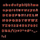 Full Alphabet of painted red metal i Stock Image