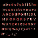 Full Alphabet of rusty red painted painted metal. Including lower, upper and specal case Stock Images