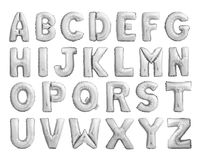 Full alphabet of silver metallic inflatable balloons Stock Images