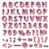 Full alphabet from USA flag letters Royalty Free Stock Images