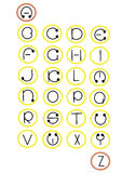 Full alphabet in wheels - . Full alphabet in wheels -  illustration Stock Photo