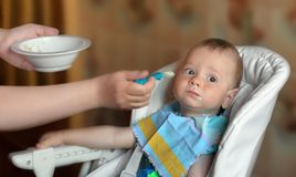 The full baby during feeding. Portrait of the full baby in a children`s chair during feeding. At the left blur  hands of mother with almost empty plate and the Royalty Free Stock Photo