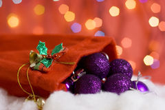 Full bag of christmas balls.  Stock Photo