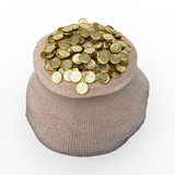 Full bag of golden dollar coins Stock Photo