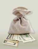 Full bag and money. Royalty Free Stock Photos