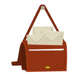 Full bag of the postman with mail, post and paper sheet. Cartoon bag of the postman for web or illustration Stock Photos