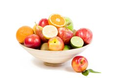 Full bamboo plate of fresh fruits Stock Photos
