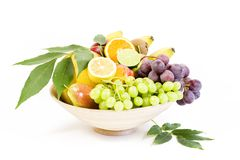 Full bamboo plate of fresh fruits Stock Image