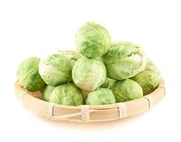 Full basket of brussels sprouts Stock Images