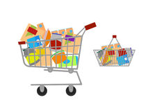 Full basket with different goods. Flat vector icon. Vector illustration. Full basket with different goods Stock Image