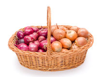 Full basket with onions crop Royalty Free Stock Photography