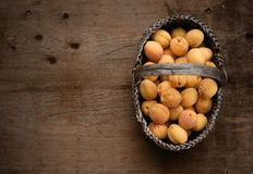 Full basket with ripe apricots Stock Image