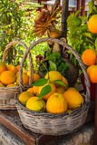 Full basket with ripe oranges. Crete food Royalty Free Stock Photography