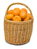 Full basket with ripe tangerines. Isolated on white background Royalty Free Stock Image