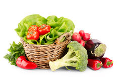 Full basket of ripe vegetables Royalty Free Stock Photos