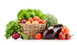 Full basket of ripe vegetables Royalty Free Stock Image