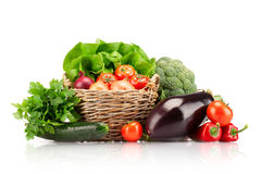 Full basket of ripe vegetables Royalty Free Stock Images