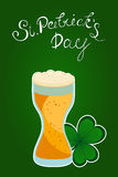 Full beer glass and clover shamrock. Traditional Irish hollyday template design to st. Patrick`s Day Royalty Free Stock Photo
