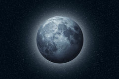 Full blue moon in space Stock Photos