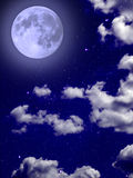 Full blue moon star clouds night sky Stock Image