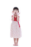 Full body of adorable asian girl holding her mouth opened, hands Royalty Free Stock Image
