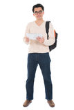 Full body Asian adult student using tablet pc Royalty Free Stock Image