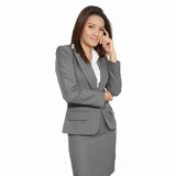 Full body Asian business woman gesture attractive positive smili Royalty Free Stock Images