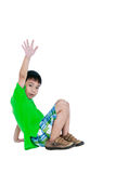 Full body of asian child smiling and raising his hands up, isola Stock Photos