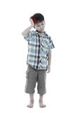 Full body.  Asian handsome boy have a headache. Isolated on whit Stock Photography