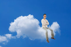 Full body Asian man sitting cloud Stock Images