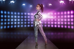 Full body of asian woman wearing silver latex suit Royalty Free Stock Photos