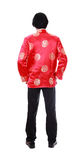 Full body back portrait Asian man with Chinese traditional cheon Royalty Free Stock Photos