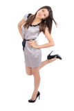 Full body beautiful brunette woman smiling Royalty Free Stock Photos
