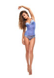 Full body brunette woman posing in blue modern bikini underwear Stock Images
