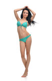 Full body brunette woman posing in modern bikini swimsuite Stock Photography