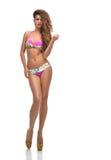 Full body brunette woman posing in pink modern bikini swimsuite Stock Photo
