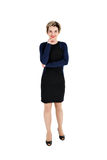 Full body of cheerful beautiful business woman royalty free stock photos
